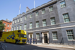 © Licensed to London News Pictures. 25/07/2019. London, UK. A removal van from Bishop's Move arrives in Downing Street. Photo credit: George Cracknell Wright/LNP
