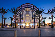 Anaheim's New Transportation Hub at Night