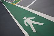 Car park pictogram showing pedestrian walkway zone at Heathrow's terminal 5.