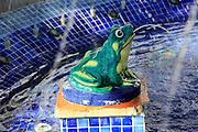 Close up of frog in fountain in Plaza de Espana, Vejer de la Frontera, Cadiz Province, Spain
