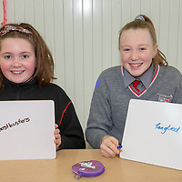Lilly Horan and Abbie Healy take part in the 'Guess the Movie' game at The Nash Gameshow for Jessies Showcase Day