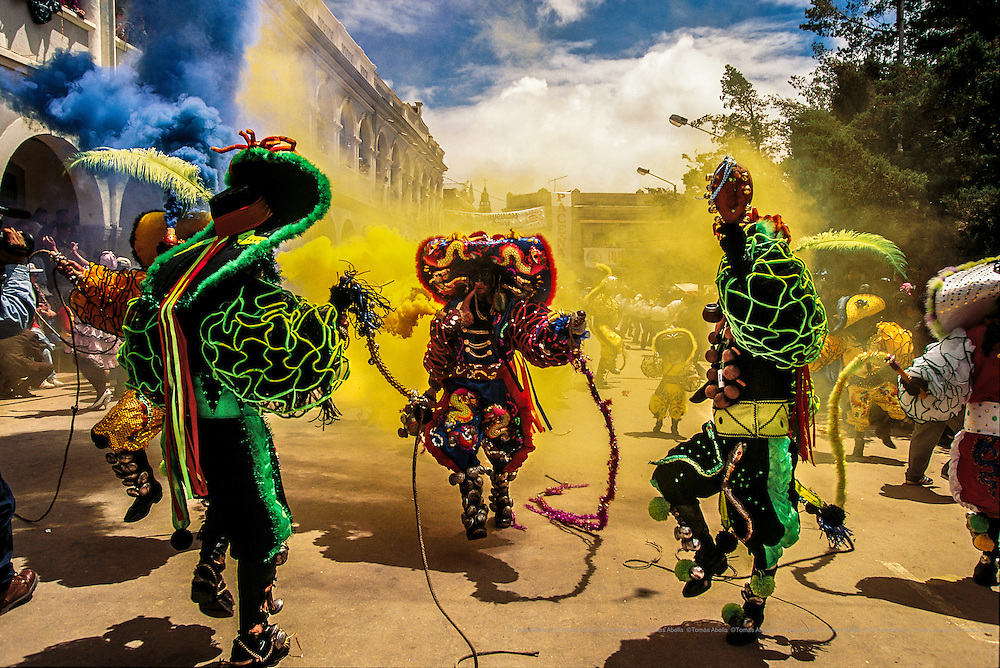 Traditional Bolivian Diablada (Devil) dancers perform at the Oruro Carnival celebration, designated by Unesco as the oral and Intangible Cultural Heritage of Humanity. Oruro, Bolivia.