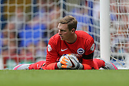 David Stockdale wearing gloves in tribute to Matthew Grimstone and Jacob Schilt, victims of the Shoreham Air Show disaster during the Sky Bet Championship match between Ipswich Town and Brighton and Hove Albion at Portman Road, Ipswich, England on 29 August 2015.