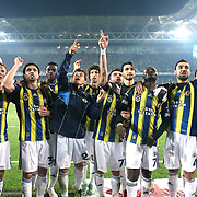 Fenerbahce's players celebrate victory during their Turkish superleague soccer derby match Fenerbahce between Galatasaray at the Sukru Saracaoglu stadium in Istanbul Turkey on Sunday 12 May 2013. Photo by Aykut AKICI/TURKPIX
