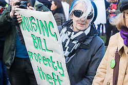 """London, January 30th 2016. Hundreds march from the Imperial War Museum through the streets of Lambeth to Downing Street demanding """"Kill The Housing Bill"""". ///FOR LICENCING CONTACT: paul@pauldaveycreative.co.uk TEL:+44 (0) 7966 016 296 or +44 (0) 20 8969 6875. ©2015 Paul R Davey. All rights reserved."""