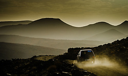 Early morning mountain view from the Tizi N'Tazezert trail (piste) in southern Morocco as a car makes it's way along the trail.<br /> <br /> (c) Andrew Wilson   Edinburgh Elite media