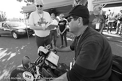 Ciro Nisi of Italy arrives at the finish on his 1924 Moto Guzzi Sport during Stage 10 (278 miles) of the Motorcycle Cannonball Cross-Country Endurance Run, which on this day ran from Golden to Grand Junction, CO., USA. Monday, September 15, 2014.  Photography ©2014 Michael Lichter.