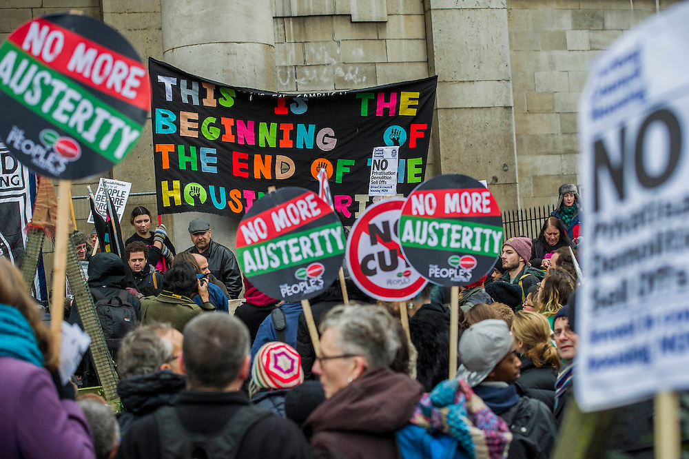 The start involved speaches at the church. People marched from South London and East London to City Hall to demand better homes for Londoners and an end to the housing crisis. Demands included rent controls, affordable and secure homes for all, an end to the Bedroom Tax and welfare caps and the building of new council houses. The event was called by Defend Council Housing and  South London People's Assembly. And the East London route started at Parish Church of St. Leonard, Shoreditch, London, United Kingdom. 31 Jan 2015.