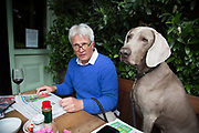 Man enjoying the Sunday newspapers with his Weimaraner dog Max at the Builders Arms pub in Kensington. London, England, UK.