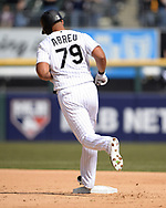 CHICAGO - APRIL 06:  Jose Abreu #79 of the Chicago White Sox rounds second base after hitting a home run against the Seattle Mariners on April 6, 2019 at Guaranteed Rate Field in Chicago, Illinois.  (Photo by Ron Vesely)  Subject:  Jose Abreu
