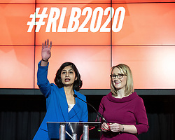 © Licensed to London News Pictures. 17/01/2020. Manchester, UK. REBECCA LONG-BAILEY (r) hosts a Q&A assisted by Coventry South MP ZARAH SULTANA . Salford & Eccles MP Rebecca Long-Bailey launches her campaign to succeed Jeremy Corbyn in the race for Labour Party leadership , at an event in the Museum of Science and Industry in Manchester City Centre . Photo credit: Joel Goodman/LNP