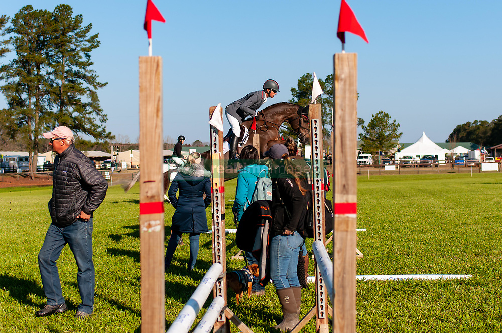 March 22, 2019 - Raeford, North Carolina, US - March 22, 2019 - Raeford, N.C., USA - DOUG PAYNE of the United States and STAR WITNESS warm-up before competing in the CCI3-S show jumping division at the sixth annual Cloud 11-Gavilan North LLC Carolina International CCI and Horse Trial, at Carolina Horse Park. The Carolina International CCI and Horse Trial is one of North AmericaÃ•s premier eventing competitions for national and international eventing combinations, hosting International competition at the CCI2*-S through CCI4*-S levels and National levels of Training through Advanced. (Credit Image: © Timothy L. Hale/ZUMA Wire)
