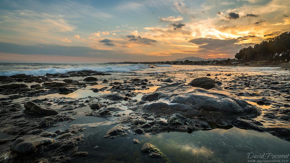 Low tide in the western beach of Marbella in October.