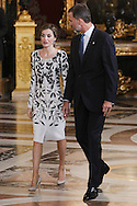 King Felipe VI of Spain, Queen Letizia of Spain attended Spain's National Day royal reception at Royal Palace in Madrid on October 12, 2016 in Madrid, Spain.