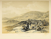 Jacob's Well at Shechem from The Holy Land : Syria, Idumea, Arabia, Egypt & Nubia by Roberts, David, (1796-1864) Engraved by Louis Haghe. Volume 1. Book Published in 1855 by D. Appleton & Co., 346 & 348 Broadway in New York.