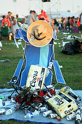 03 May 2015. New Orleans, Louisiana.<br /> The New Orleans Jazz and Heritage Festival. <br /> Trash piled up at the end of the festival. <br /> Photo; Charlie Varley/varleypix.com