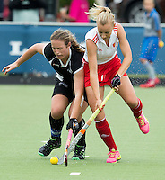 BREDA (Neth.)  Hannah Martin of England with Pippa Norman of NZduring the match  New Zealand vs England U21 women . Volvo Invitational Tournament U21. COPYRIGHT KOEN SUYK
