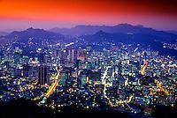 Central Seoul from the Seoul Tower at twilight, Namsan Mountain, Seoul, South Korea