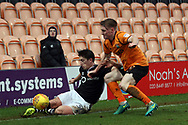 Alex Woodyard of Lincoln City (L) slides out of play.  EFL Skybet Football League two match, Barnet v Lincoln City at the Hive in London on Saturday 20th January 2018. <br /> pic by Steffan Bowen, Andrew Orchard sports photography.