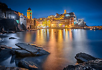 Aerial view of Vernazza during the night, Italy