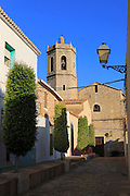 Church tower and village buildings, Lliber, Marina Alta, Alicante province, Spain