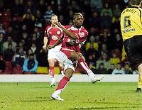 Photo: Leigh Quinnell/Sportsbeat Images.<br /> Watford v Bristol City. Coca Cola Championship. 01/12/2007. Bristol Citys  Darren Byfield fires home a last minute winning goal.