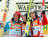 Kombinert<br /> FIS World Cup Verdenscup 2005/2006<br /> 18.12.2005<br /> Ramsau<br /> Foto: Gepa/Digitalsport<br /> NORWAY ONLY<br /> <br /> Bild zeigt Ronny Ackermann (GER), Petter Tande, Magnus Moan (NOR).