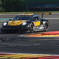 #56, Team Project 1, Porsche 911 RSR, LMGTE Am, driven by:  Jorg Bergmeister, Patrick Lindsey, Egidio Perfetti at FIA WEC Spa 6h, Circuit de Spa-Francorchamps motor-racing circuit, on 03.05.2018