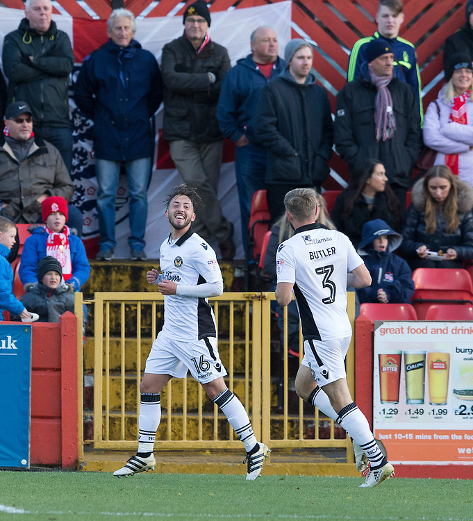 Josh Sheehan of Newport County celebrates his goal<br /> <br /> Photographer James Williamson/CameraSport<br /> <br /> The Emirates FA Cup First Round - Alfreton Town v Newport County - Sunday 6th November 2016 - North Street - Alfreton<br />  <br /> World Copyright © 2016 CameraSport. All rights reserved. 43 Linden Ave. Countesthorpe. Leicester. England. LE8 5PG - Tel: +44 (0) 116 277 4147 - admin@camerasport.com - www.camerasport.com