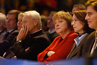 12 JAN 2003, BRAUNSCHWEIG/GERMANY:<br /> Edmund Stoiber (Mi-L), CSU, Ministerpraesident Bayern, Angela Merkel (Mi-R), CDU Bundesvorsitzende, Wahlkampfauftakt der CDU Niedersachsen zur Landtagswahl, Volkswagenhalle<br /> IMAGE: 20030112-01-006<br /> KEYWORDS: Ministerpräsident