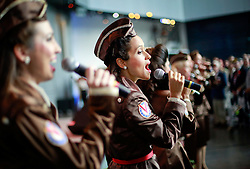 06 June 2014. The National WWII Museum, New Orleans, Lousiana. <br /> The Victory Belles honor WWII veterans presented with the French Legion of Honor medal by the French Consul General Jean Claude Brunet. <br /> Photo; Charlie Varley/varleypix.com
