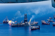 6/26/2010 The Transocean Discoverer Enterprise drillship as it burns off gas collected at the BP Deepwater Horizon well that is gushing oil into the Gulf of Mexico