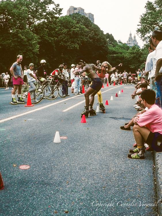 Roller slalom in Central Park, New York City, 1991