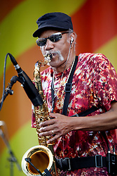 05 May 2012. New Orleans, Louisiana,  USA. .New Orleans Jazz and Heritage Festival. .Charles Neville of the Neville Brothers..Photo; Charlie Varley.
