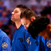 28 October 2015: Orlando Magic center Nikola Vucevic (9) is seen during the national anthem prior to the Washington Wizards 88-87 victory over the Orlando Magic, at the Amway Center, in Orlando, Florida, USA.