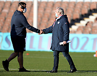 Jacky Lorenzetti (right) the Racing 92 chairman greeting players before the game