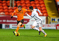 Dundee United's Paul McMullan and Alloa Athletic's Kevin Cawley. half time : Dundee United 1 v 1 Alloa Athletic, Scottish Championship game played 7/12/2019 at Dundee United's stadium Tannadice Park.