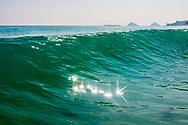 Wave breaking at Kailua Beach shorebreak, Kailua Bay, Oahu, Hawaii
