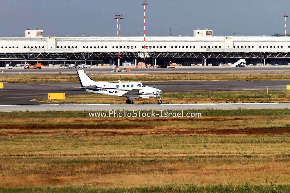 Air Pannonia Pilot School, Beech C90 King Air. Photographed at Malpensa airport, Milan, Italy