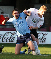 Photo:Mark Stephenson,Herford united v Port vale.<br />fa cup 2-11-2006.Vales Danny Sonner is tackelled by Hrefords Alan Connell.