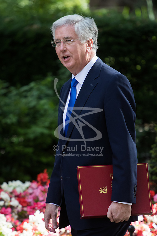 Defence Secretary Michael Fallon arrives at Prime Minister David Cameron's final cabinet meeting following Theresa May's anticipated takeover as Leader of the Conservative Party and Prime Minister