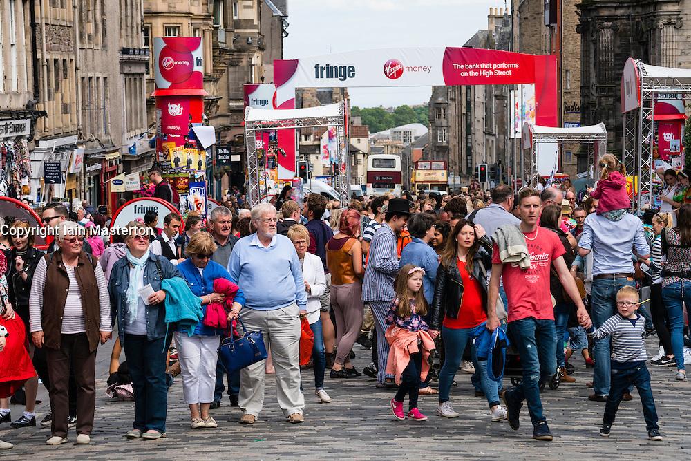 View along busy High Street in Edinburgh during Fringe Festival 2016, Scotland, united Kingdom