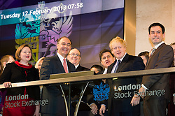 © London News Pictures. 12/02/2013 . London, UK. Mayor Of London, BORIS JOHNSON (right centre) opening the days trading at the London Stock Exchange with XAVIER ROLET, CEO of London Stock Exchange Group (left centre).  Photo credit : Ben Cawthra/LNP
