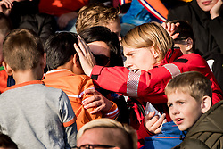 little fan hit by a ball during the EURO U21 2017 qualifying match between Netherlands U21 and Latvia U21 at the Vijverberg stadium on October 06, 2017 in Doetinchem, The Netherlands