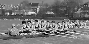 Chiswick. London.<br /> Eights starting from Mortlake<br /> <br /> 1987 Head of the River Race over the reversed Championship Course Mortlake to Putney on the River Thames. Saturday 28.03.1987. <br /> <br /> [Mandatory Credit: Peter SPURRIER;Intersport images] 1987 Head of the River Race, London. UK