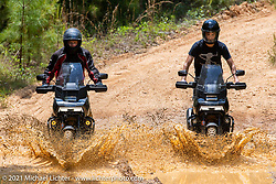 Harley-Davidson Pan-America engineer Andrew Erickson (L) and Sean Lichter test the new Pan-America dual sport near the Tennessee Motorcycles and Music Revival. Hurricane Mills, TN, USA. May 23, 2021. Photography ©2021 Michael Lichter.
