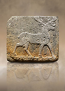 Photo of Hittite monumental relief sculpted orthostat stone panel from Water Gate Basalt, Karkamıs, (Kargamıs), Carchemish (Karkemish). 900-700 BC . Stag. Anatolian Civilisations Museum, Ankara, Turkey. With his large and many branched antler, he walks towards the right. <br /> <br /> On a brown art background. .<br />  <br /> If you prefer to buy from our ALAMY STOCK LIBRARY page at https://www.alamy.com/portfolio/paul-williams-funkystock/hittite-art-antiquities.html  - Type  Karkamıs in LOWER SEARCH WITHIN GALLERY box. Refine search by adding background colour, place, museum etc.<br /> <br /> Visit our HITTITE PHOTO COLLECTIONS for more photos to download or buy as wall art prints https://funkystock.photoshelter.com/gallery-collection/The-Hittites-Art-Artefacts-Antiquities-Historic-Sites-Pictures-Images-of/C0000NUBSMhSc3Oo