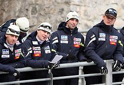 Coaches Matjaz Triplat, Ari Pekka Nikkola, Franci Petek and Gorazd Pogorelcnik at Slovenian National Championship in Ski Jumping on February 12, 2008 in Kranj, Slovenia . (Photo by Vid Ponikvar / Sportal Images).