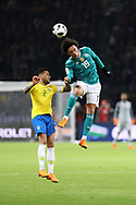 Dani Alves (Brazil) and Leroy Sane (Germany) during the International Friendly Game football match between Germany and Brazil on march 27, 2018 at Olympic stadium in Berlin, Germany - Photo Laurent Lairys / ProSportsImages / DPPI