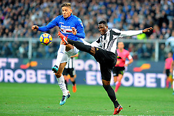 Genoa (Italy): Italian Championship match Sampdoria vs Juventus. 19 Nov 2017 Pictured: Gaston Ramirez of UC Sampdoria and Kwadko Asamoah of Juventus FC fight for the ball during the Italian Championship match UC Sampdoria vs Juventus FC player at Luigi Ferraris Stadium in Genoa, on November 19, 2017. Photo credit: Massimo Cebrelli / MEGA TheMegaAgency.com +1 888 505 6342